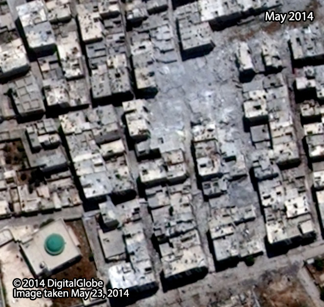 After: Al-Ameria neighborhood in Aleppo City, after it was struck by probable air strike. Image taken May 23, 2014