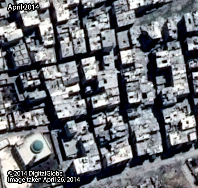 Before: Al-Ameria neighborhood in Aleppo City, taken April 26, 2014