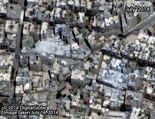 After: Al-Ansari Mashad neighborhood after it was struck by probable air strikes. Image taken July 14, 2014