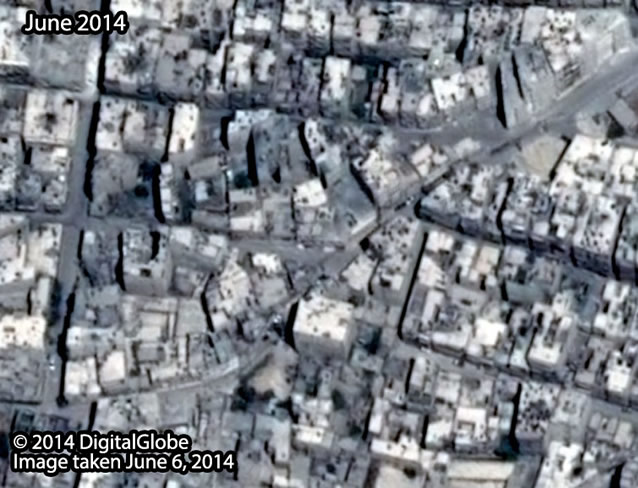 Before: Al-Ansari Mashad neighborhood in Aleppo City, taken June 6, 2014