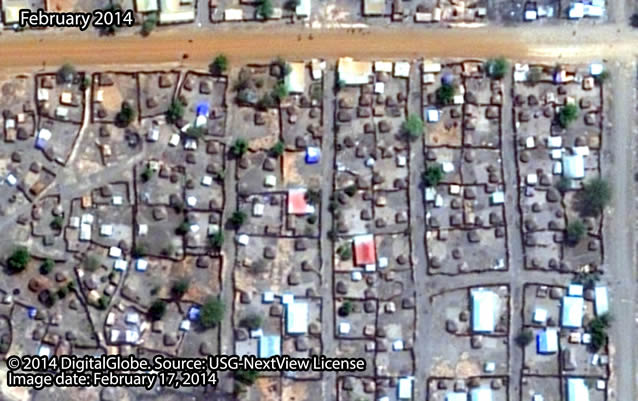 Before: Nachbarschaft südöstlich der Stadt Malakal, Südsudan.