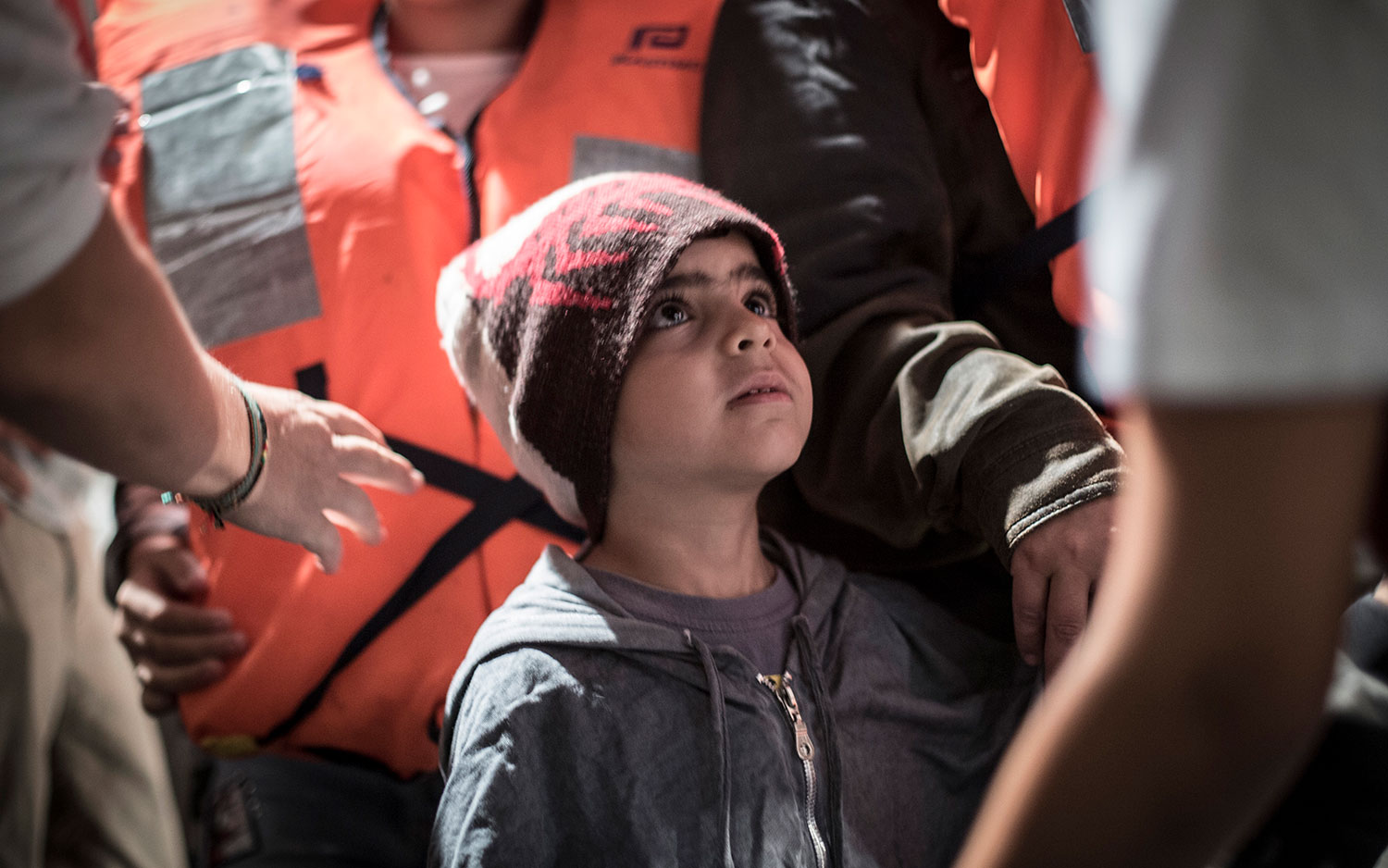 A child arrives on board the Aquarius. October 11, 2017.