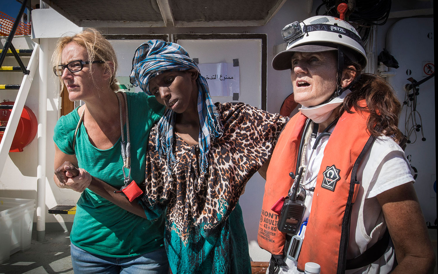 A child just arrived on board the Aquarius. October 2017.