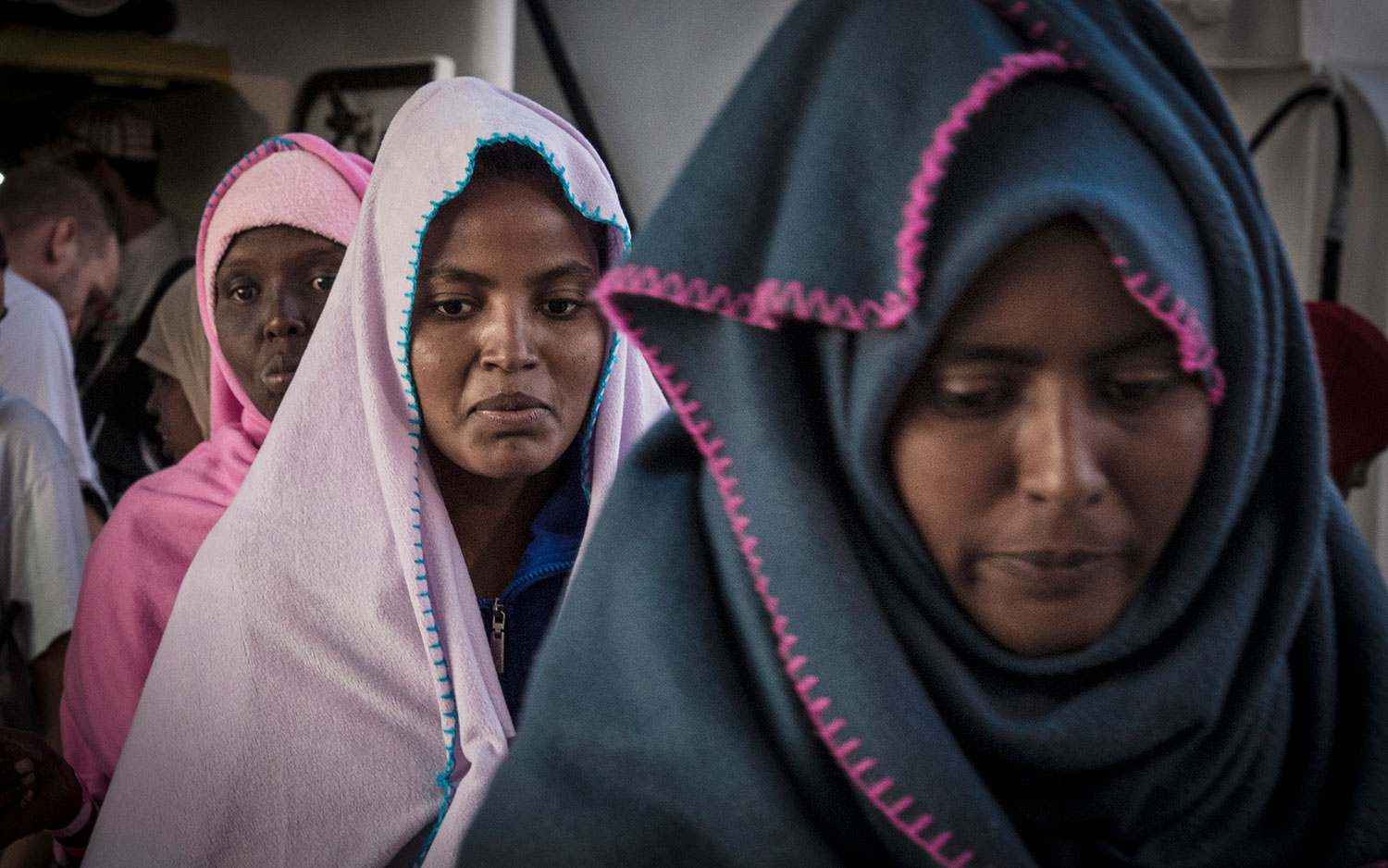 Women on board the Aquarius following their rescue in international waters off Libya. October 12, 2017.
