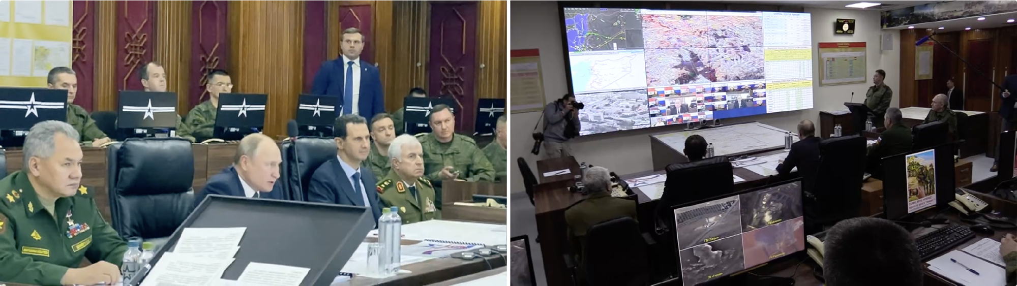 President Putin makes remarks at the Damascus command post for Russian forces during a January 7, 2020 trip to Syria.